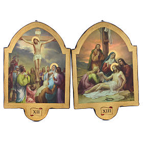 Via Crucis 15 stazioni 50x38 stampa su legno sgusciata s7