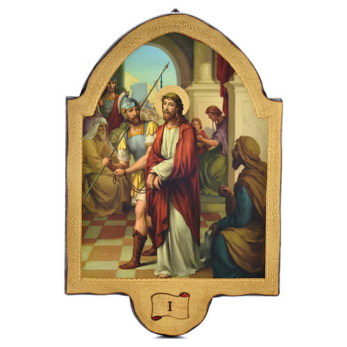 Via Crucis 15 stazioni 50x38 stampa su legno sgusciata 1