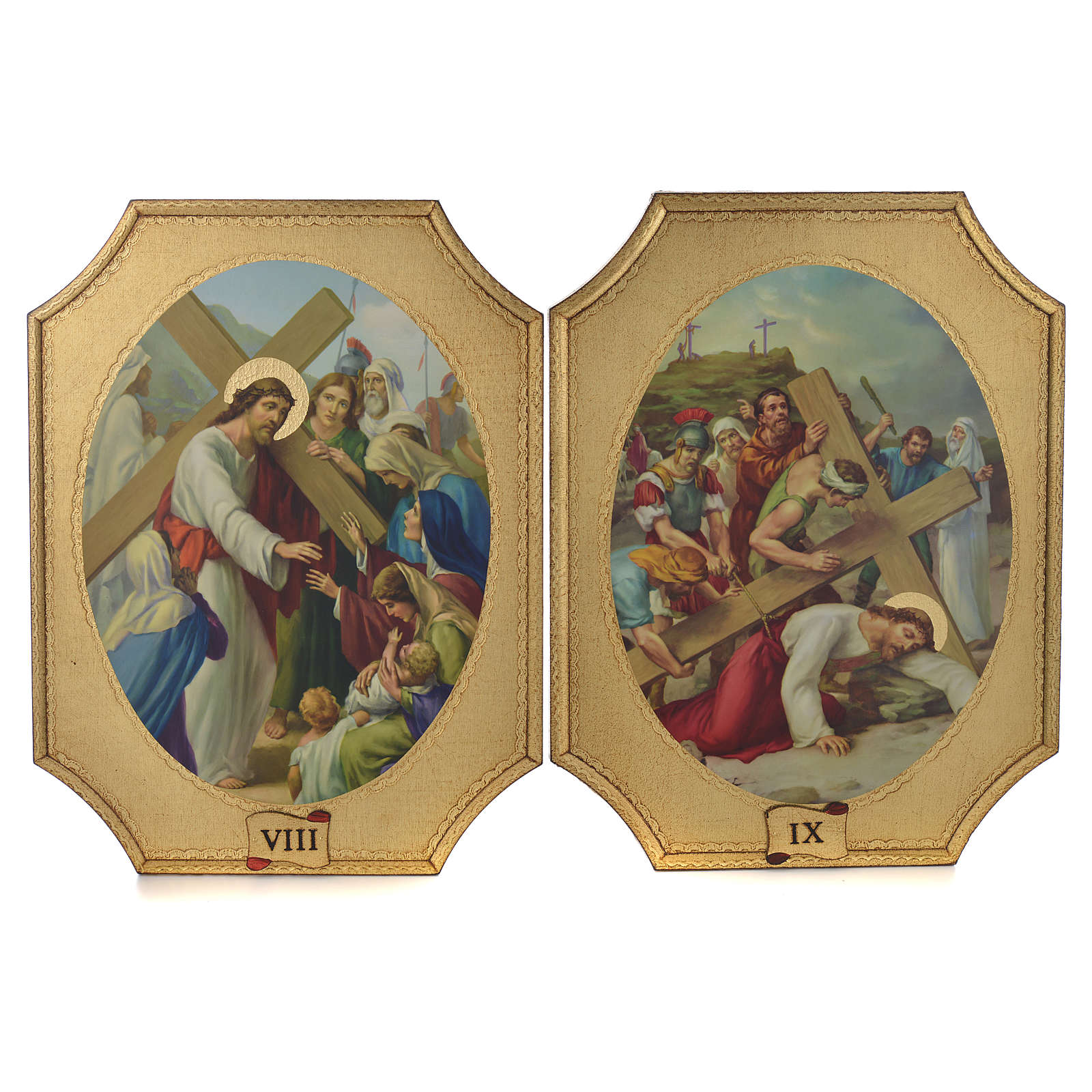 Way of the cross with 15 stations on wood with gold foil 52.5x35cm 4