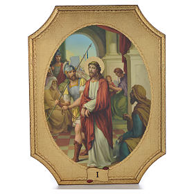Way of the cross with 15 stations on wood with gold foil 52.5x35cm s1