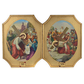 Way of the cross with 15 stations on wood with gold foil 52.5x35cm s4