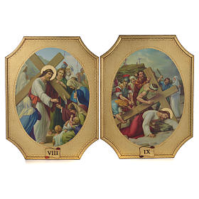Way of the cross with 15 stations on wood with gold foil 52.5x35cm s5
