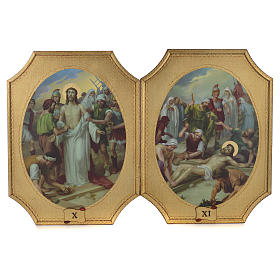 Way of the cross with 15 stations on wood with gold foil 52.5x35cm s6