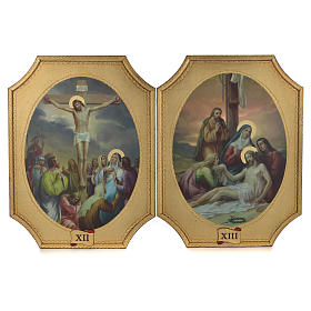 Way of the cross with 15 stations on wood with gold foil 52.5x35cm s7