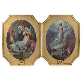 Way of the cross with 15 stations on wood with gold foil 52.5x35cm s8