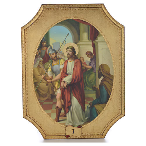 Way of the cross with 15 stations on wood with gold foil 52.5x35cm 1