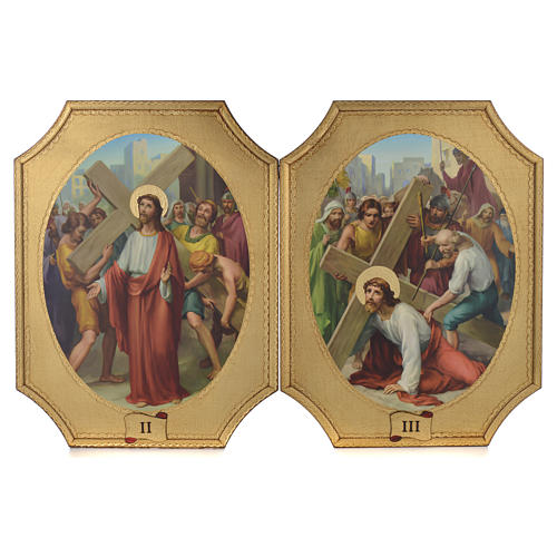 Way of the cross with 15 stations on wood with gold foil 52.5x35cm 2