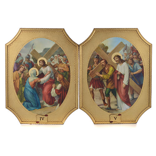 Way of the cross with 15 stations on wood with gold foil 52.5x35cm 3
