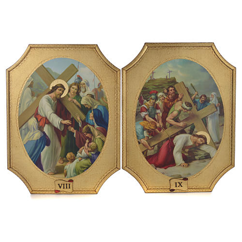 Way of the cross with 15 stations on wood with gold foil 52.5x35cm 5