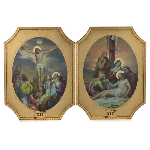 Way of the cross with 15 stations on wood with gold foil 52.5x35cm 7