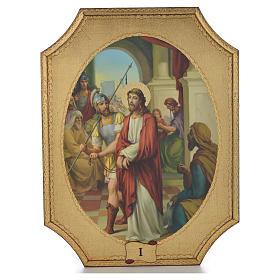 Via Crucis 15 tavole su legno sagomato foglia oro 52,5x35 s1