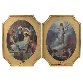 Via Crucis 15 tavole su legno sagomato foglia oro 52,5x35 s8