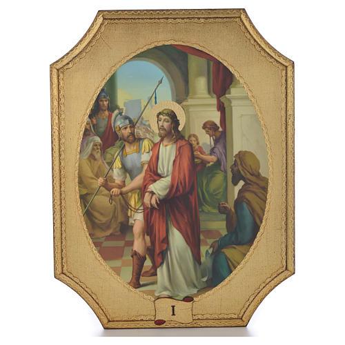 Via Crucis 15 tavole su legno sagomato foglia oro 52,5x35 1