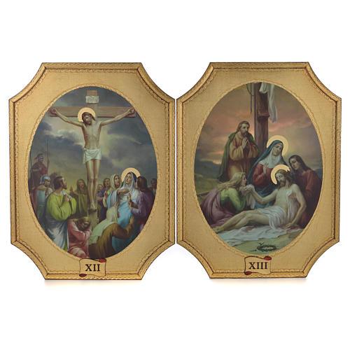 Via Crucis 15 tavole su legno sagomato foglia oro 52,5x35 7