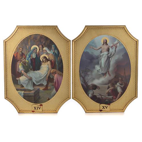 Via Crucis 15 tavole su legno sagomato foglia oro 52,5x35 8