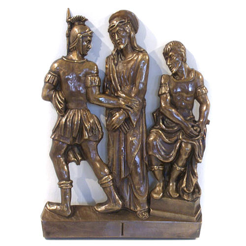 Via Crucis in bronzed brass, 15 stations 1