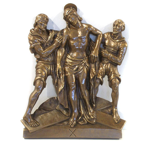 Via Crucis in bronzed brass, 15 stations 10