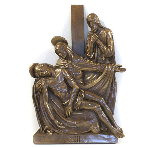 Via Crucis in bronzed brass, 15 stations 13