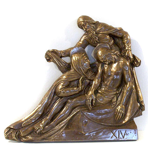 Via Crucis in bronzed brass, 15 stations 14