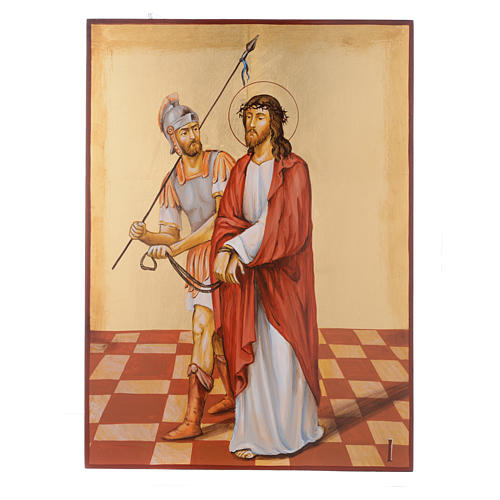 Way of the cross with 15 stations, icons are hand painted in Romania 1