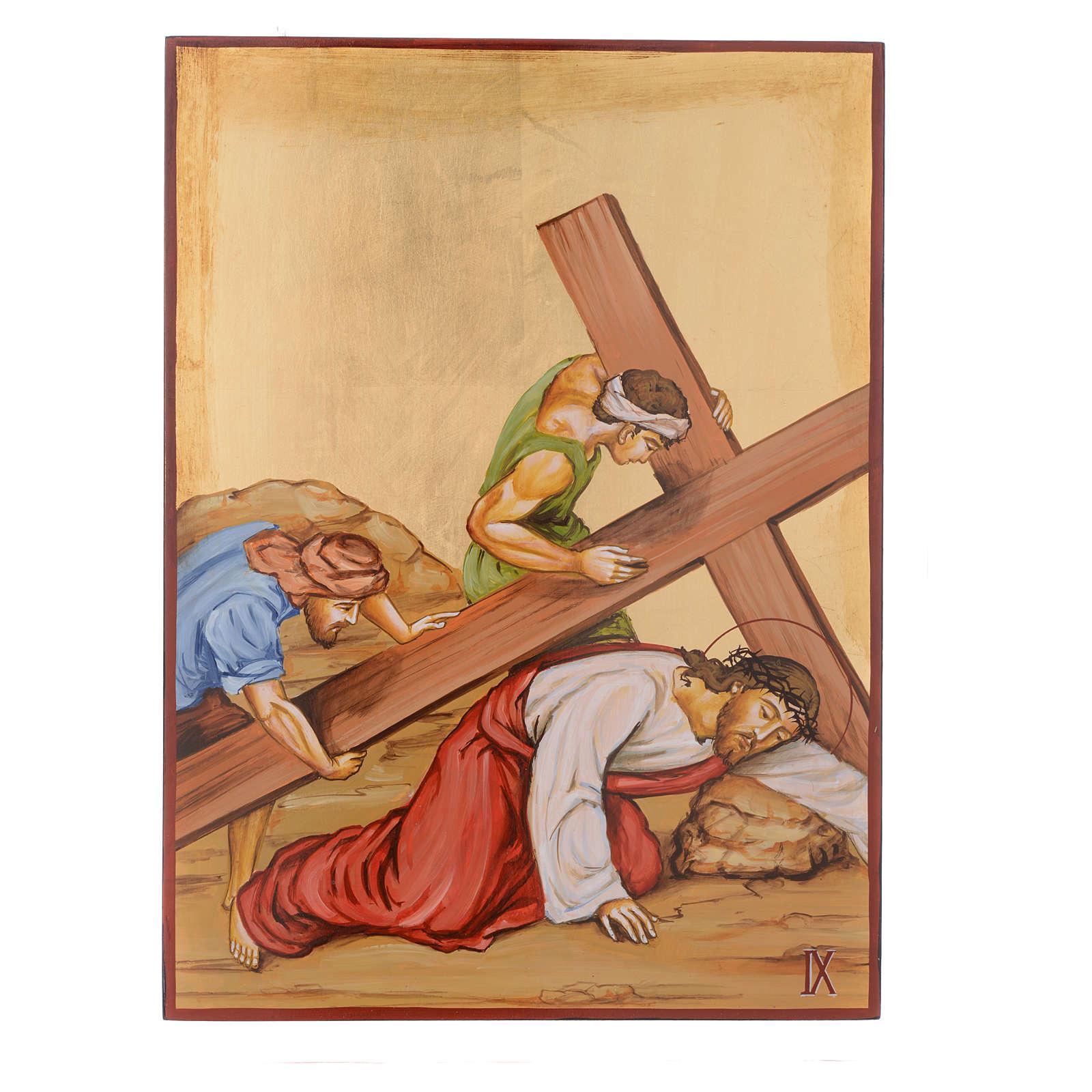 Vía Crucis 15 Estaciones iconos pintados a mano 44x32 cm Rumania 4