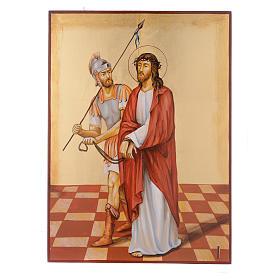 Vía Crucis 15 Estaciones iconos pintados a mano 44x32 cm Rumania s1