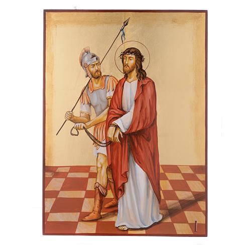 Vía Crucis 15 Estaciones iconos pintados a mano 44x32 cm Rumania 1