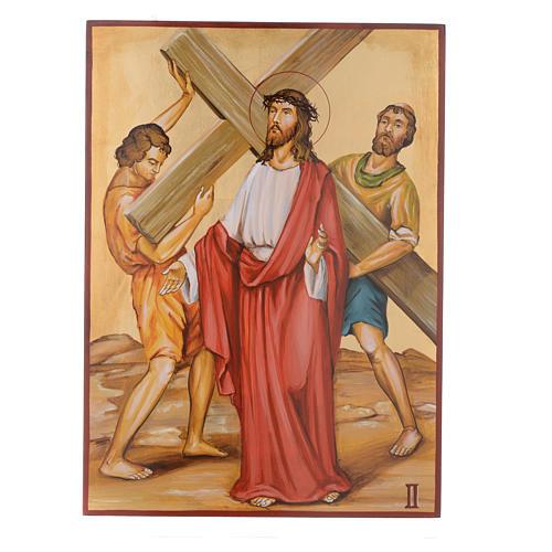 Vía Crucis 15 Estaciones iconos pintados a mano 44x32 cm Rumania 2
