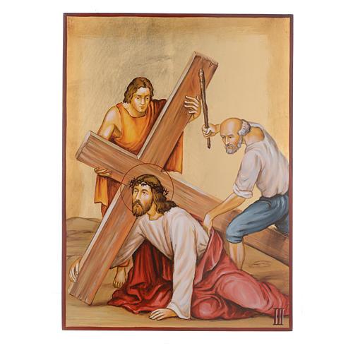 Vía Crucis 15 Estaciones iconos pintados a mano 44x32 cm Rumania 3