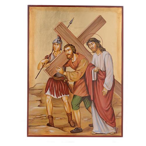Vía Crucis 15 Estaciones iconos pintados a mano 44x32 cm Rumania 5