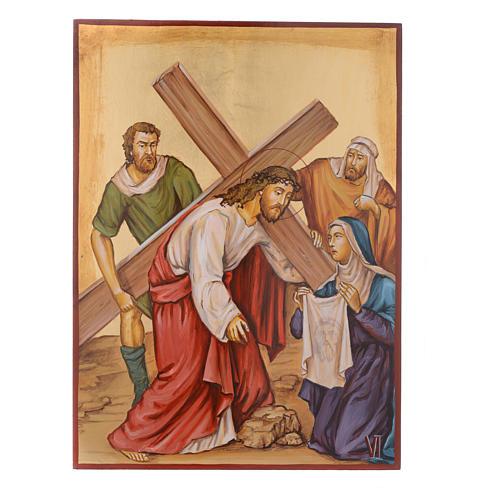 Vía Crucis 15 Estaciones iconos pintados a mano 44x32 cm Rumania 6
