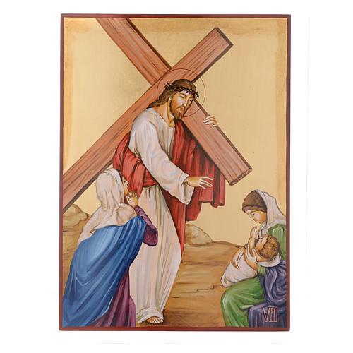 Vía Crucis 15 Estaciones iconos pintados a mano 44x32 cm Rumania 8