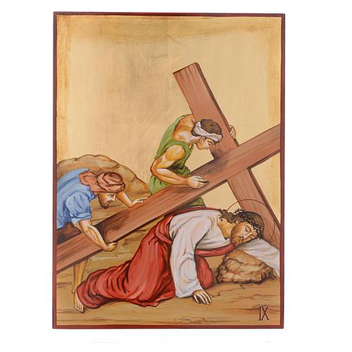 Vía Crucis 15 Estaciones iconos pintados a mano 44x32 cm Rumania 9