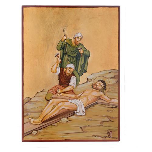 Vía Crucis 15 Estaciones iconos pintados a mano 44x32 cm Rumania 11
