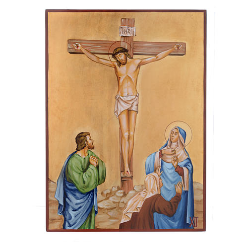 Vía Crucis 15 Estaciones iconos pintados a mano 44x32 cm Rumania 12