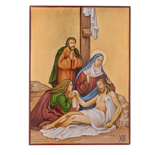 Vía Crucis 15 Estaciones iconos pintados a mano 44x32 cm Rumania 13