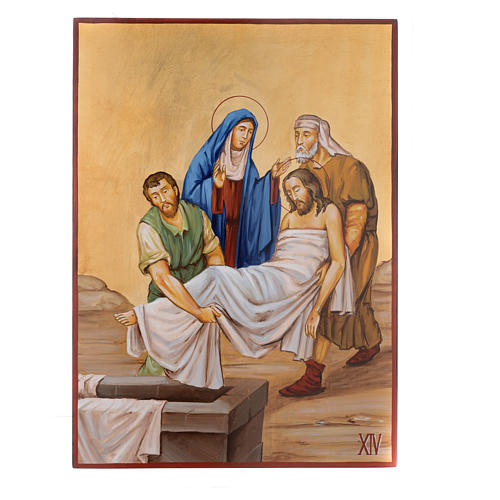 Vía Crucis 15 Estaciones iconos pintados a mano 44x32 cm Rumania 14