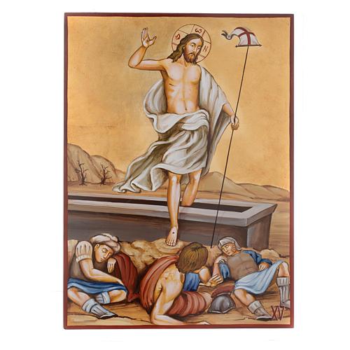 Vía Crucis 15 Estaciones iconos pintados a mano 44x32 cm Rumania 15