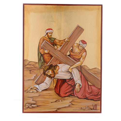 Chemin de croix 15 stations icônes peintes main 44x32 cm Roumanie 7