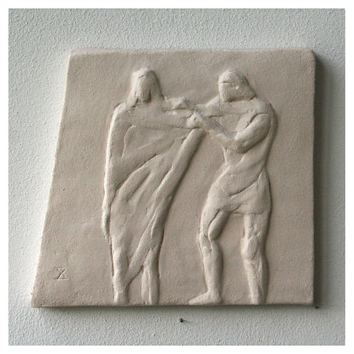 Way of the cross with handmade tiles 20x294cm, 15 stations 14