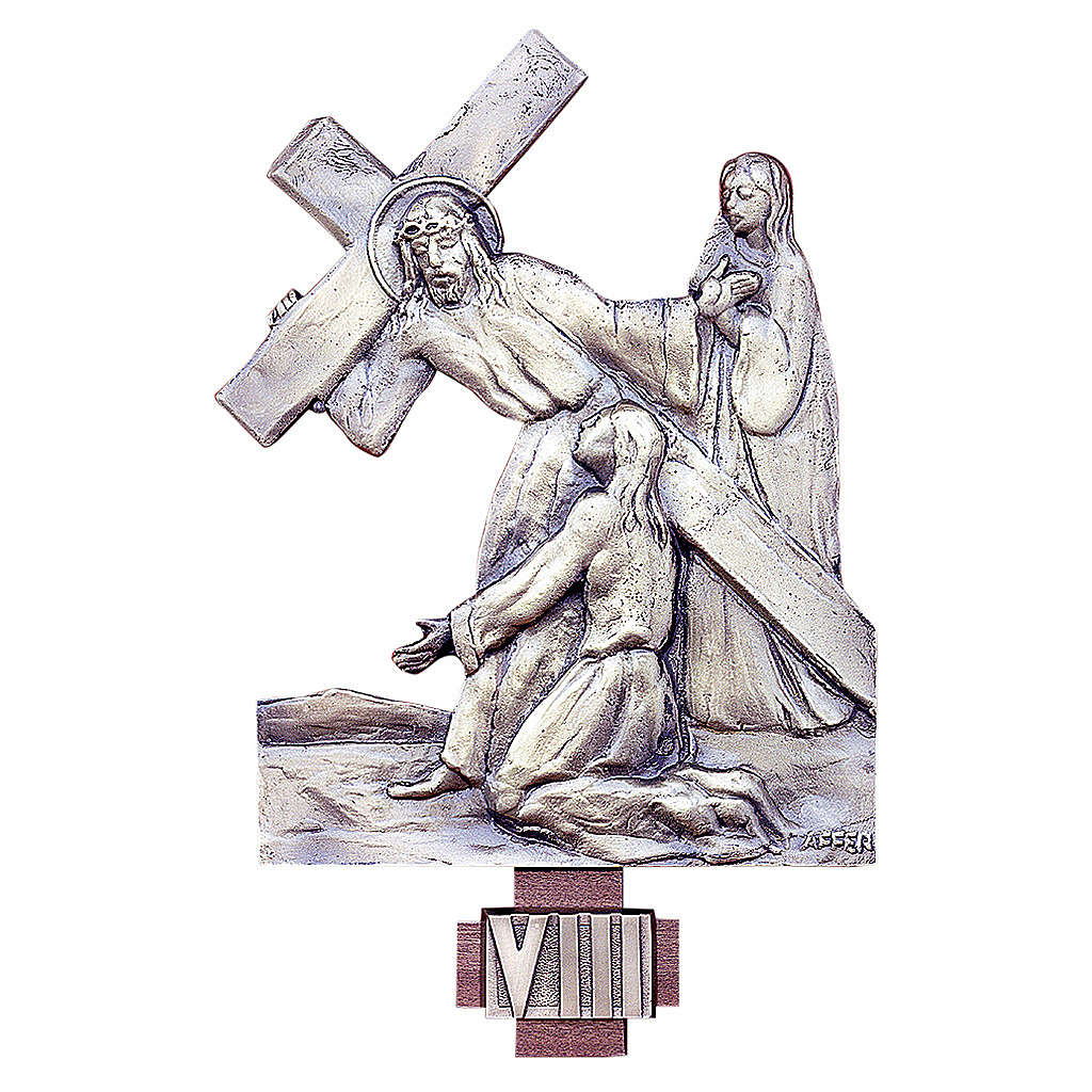 Via Crucis 14 stazioni ottone fuso 20x25 cm 4