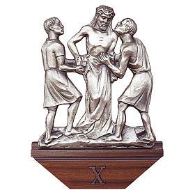 Via Crucis ottone argentato 15 stazioni capitello legno s1