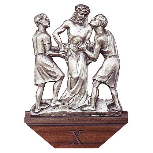 Via Crucis ottone argentato 15 stazioni capitello legno 1