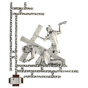 Way of the cross, 15 stations 33x40cm in silver brass s7