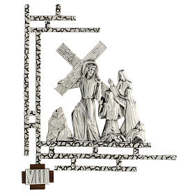 Way of the cross, 15 stations 33x40cm in silver brass s8