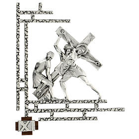 Way of the cross, 15 stations 33x40cm in silver brass s11