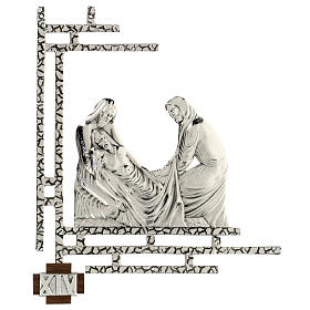 Way of the cross, 15 stations 33x40cm in silver brass s14