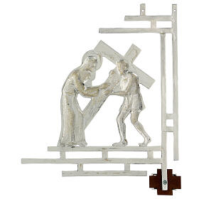 Way of the cross, 15 stations 33x40cm in silver brass s17