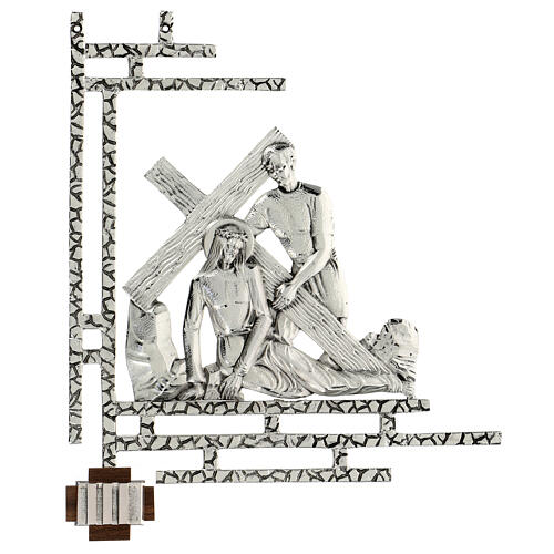 Way of the cross, 15 stations 33x40cm in silver brass 3