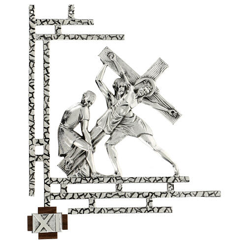 Way of the cross, 15 stations 33x40cm in silver brass 11